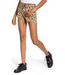 women's blanknyc barrow high waist leopard print denim shorts, size 25 - brown