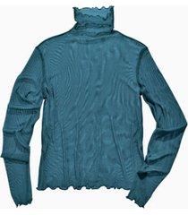 shirt met lange mouwen uit biologische zijde, oceaan 40/42