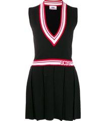 gcds deep v-neck tennis dress - black