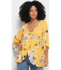blusa mercatto bata floral abertura laço feminina