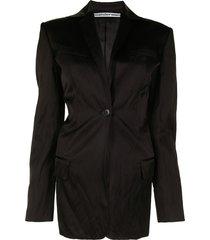 alexander wang tailored satin blazer - black
