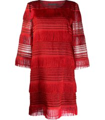 alberta ferretti tassel shift dress - red