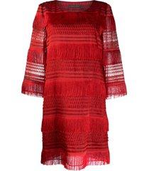 alberta ferretti tassel shift dress - red