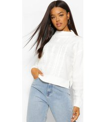 cable knit high neck sweater, ivory