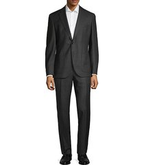regular fit windowpane-print wool suit
