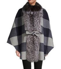 silver fox buffalo check belted cape