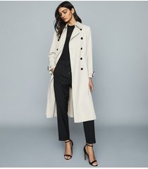 reiss pixie - pleat detailed trench coat in stone, womens, size 12