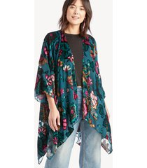 women's burnout floral kimono teal multi one size from sole society