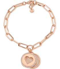 unwritten mother-of-pearl & crystal heart & silver plated disc charm bracelet in rose gold-tone brass