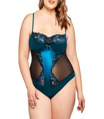 barbie plus size satin and floral lace bodysuit patterned with soft sheer mesh panels set