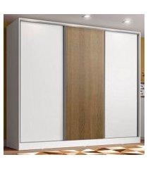 guarda roupa juvenil 100% mdf madesa kevin 3 portas de correr - branco/branco/rustic