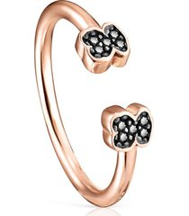 anillo motif de plata vermeil rosa con espinelas tous
