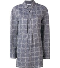 jw anderson women's navy logo grid tunic linen shirt - blue