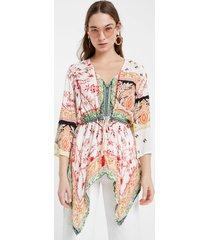 kaftan blouse ethnic motifs - white - xxl