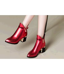 pb181 luxury pointy booties w horse heel, genuine leather, us size 4-10, red