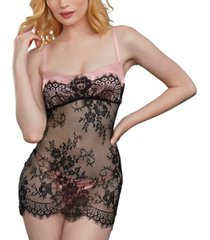 dreamgirl women's eyelash lace underwire chemise with satin thong set