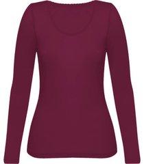 enna, biologisch zijden shirt met lange mouwen, bordeaux 34