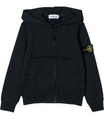 stone island navy cotton hoodie