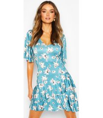 floral slinky angel sleeve ruffle hem skater dress, blue