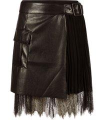 self-portrait faux leather mini wrap skirt