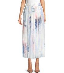 balmain women's printed pleated midi skirt - size 34 (2)