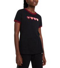 nike logo hearts graphic ringer t-shirt