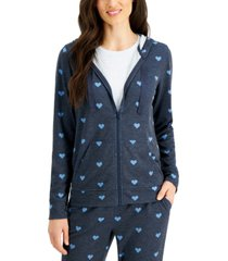 style & co petite heart-print zip-up hoodie, created for macy's