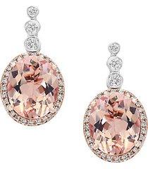 blush 14k white gold, morganite & diamond drop earrings