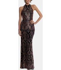 betsy & adam petite metallic-print halter gown