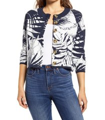 women's madewell broadway tropical vacation cardigan, size x-small - blue