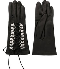 manokhi textured lace-up detail gloves - black