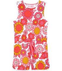 girl's mini boden tie waist jersey romper, size 4-5y - pink