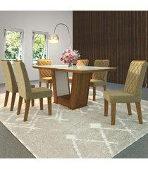 mesa de jantar 6 lugares condessa cedro/areia/branco - viero móveis