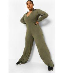 plus wide leg jumpsuit met knopen, khaki