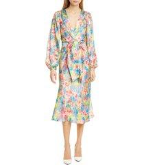 women's ronny kobo mia long sleeve silk blend jacquard midi dress