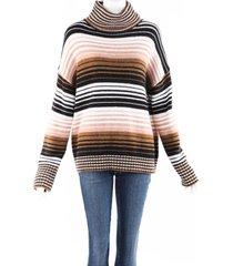 360sweater nadia striped wool knit turtleneck sweater black/brown sz: l