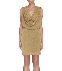 drape collar sleeveless dress