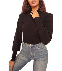 women's reformation osteria open back cashmere sweater, size x-large - black