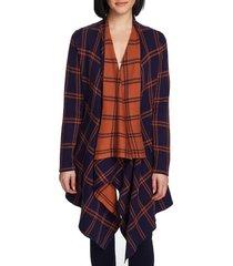 women's chaus plaid long double knit cardigan