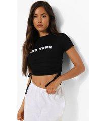 geplooide kort soho town t-shirt, black