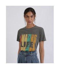 """t-shirt feminina mindset amazing life"""" manga curta decote redondo chumbo"""""""