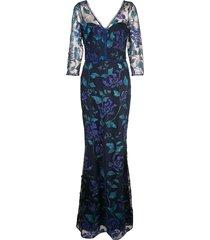 marchesa notte full length floral dress - blue