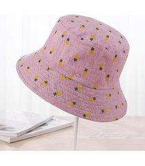 donna cappello da pescatore in cotone con stampa di ananas con protezione da sole da outdoor