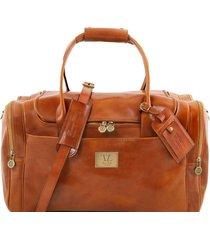 tuscany leather tl141296 tl voyager - borsone viaggio in pelle con tasche laterali miele