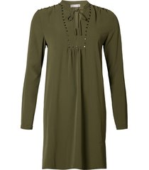 geisha jurk solid studs army groen