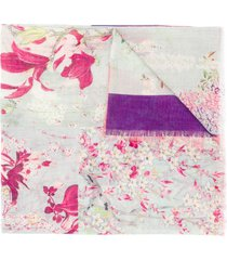 etro floral patchwork print scarf - green