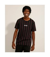 """camiseta de algodão listrada offline"""" manga curta gola careca preta"""""""