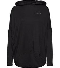 l/s hoodie top zwart calvin klein