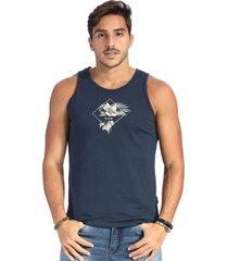 camiseta vlcs regata gola redonda azul - azul marinho - masculino - algodã£o - dafiti