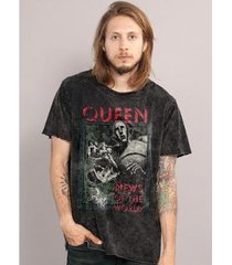 camiseta bandup! marmorizada queen news of the world capa